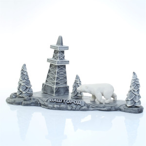 Белый медведь на фоне буровой
